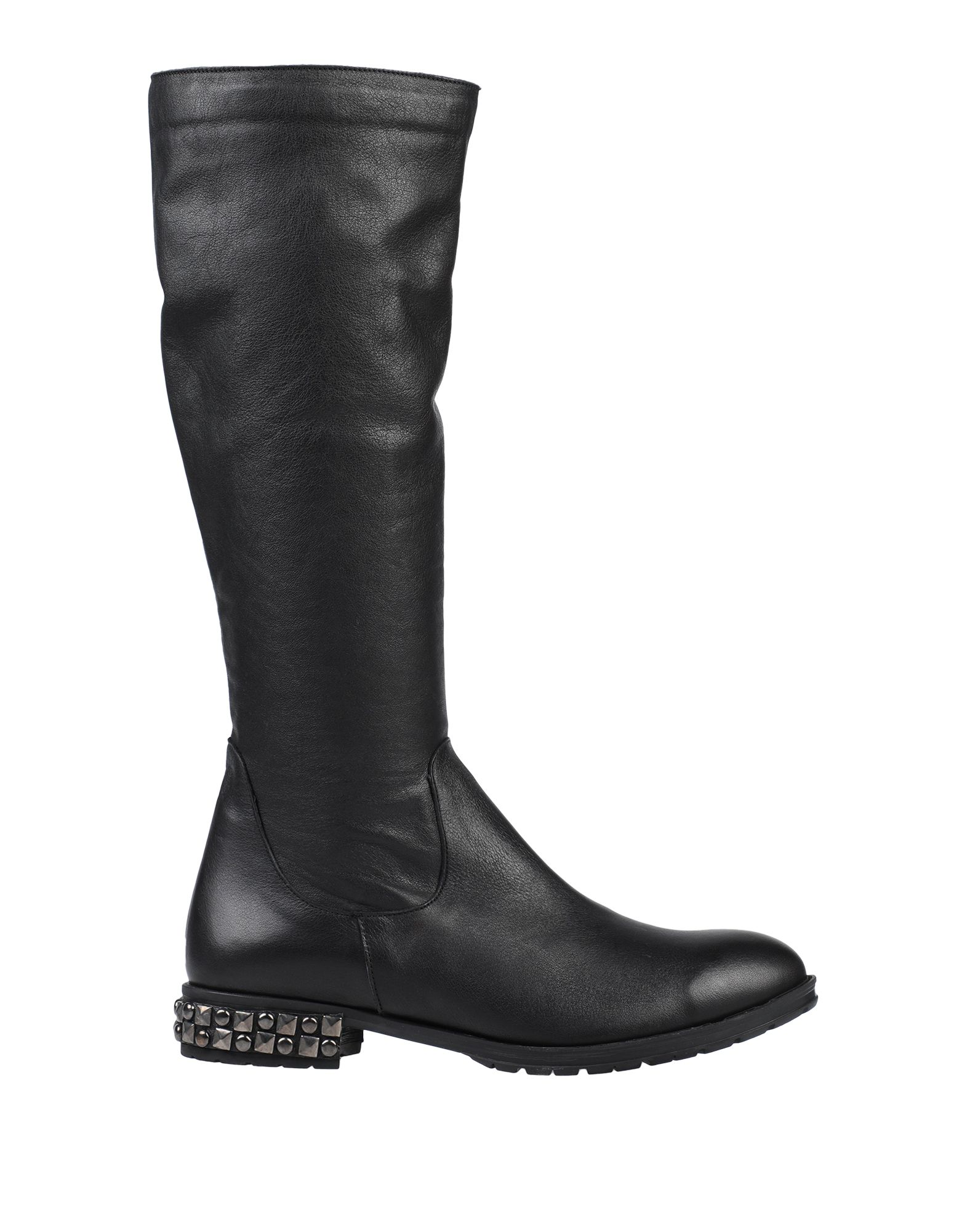 BUENO Boots. leather, studs, solid color, zipper closure, round toeline, square heel, leather lining, rubber cleated sole, contains non-textile parts of animal origin. Soft Leather