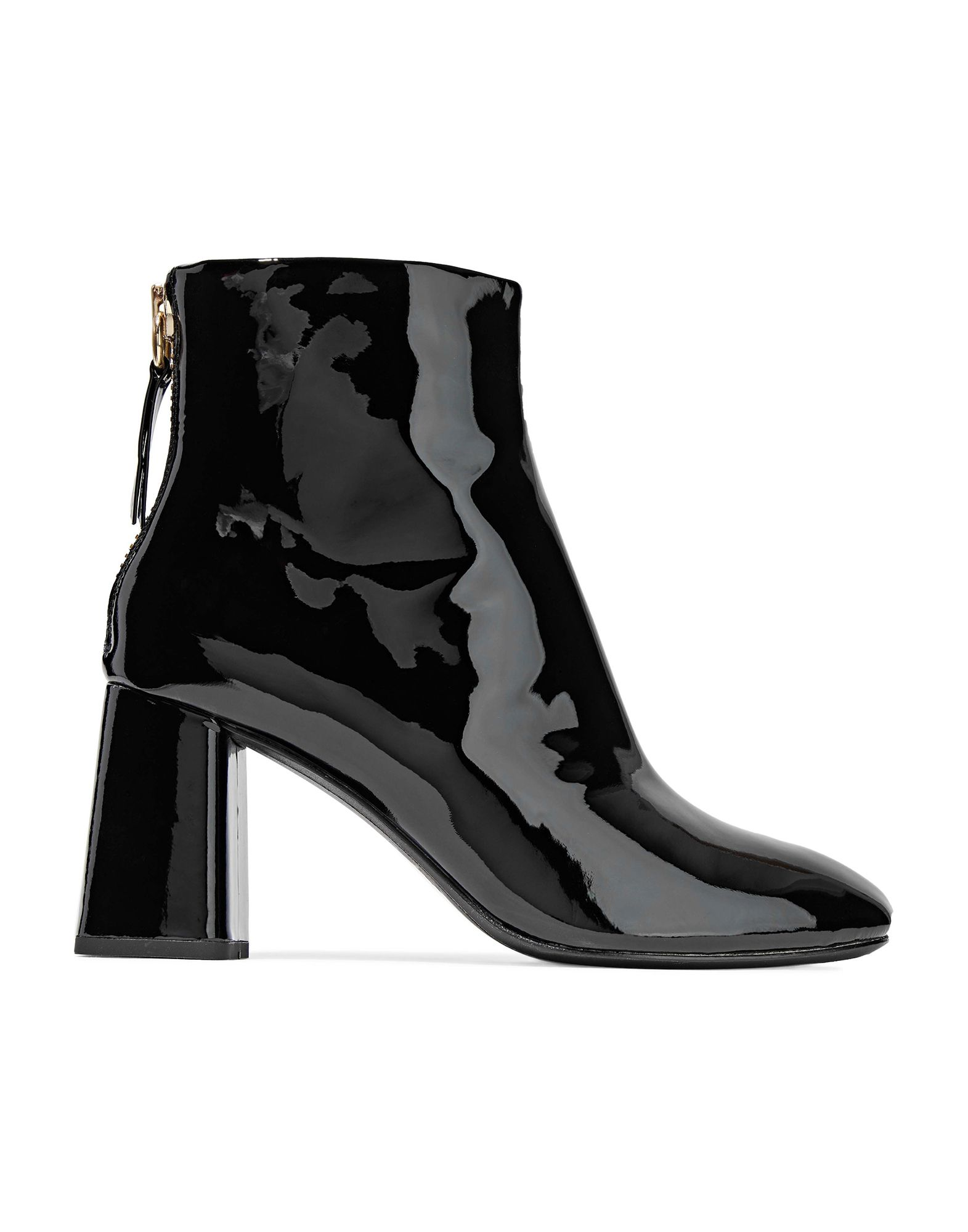 ALICE + OLIVIA Ankle boots. varnished effect, no appliqués, solid color, zipper closure, round toeline, square heel, leather lining, leather sole, contains non-textile parts of animal origin. Soft Leather