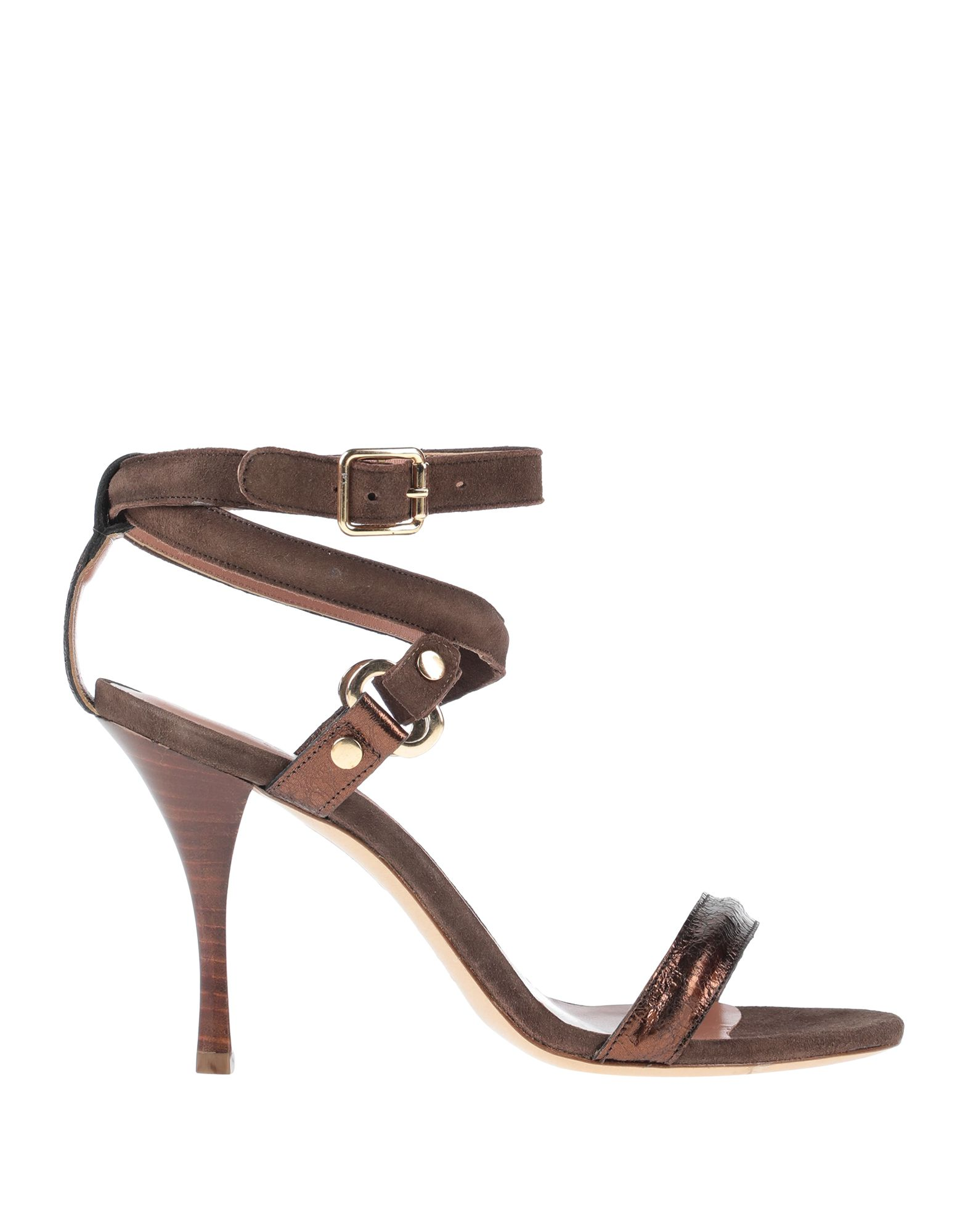 ELEVENTY Sandals. leather, laminated effect, metal applications, solid color, buckling ankle strap closure, round toeline, spool heel, leather lining, leather sole, contains non-textile parts of animal origin. Soft Leather