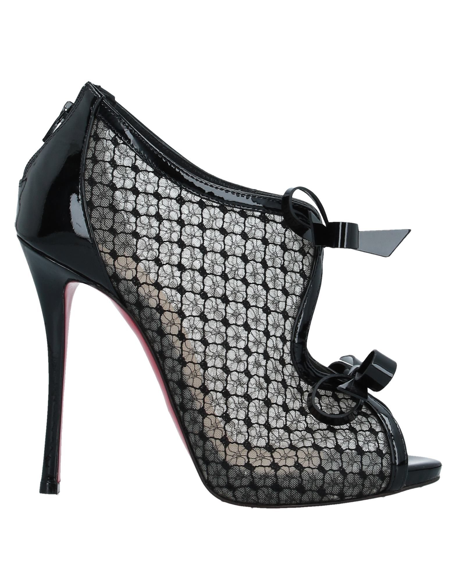 CHRISTIAN LOUBOUTIN Booties. leather, lace, varnished effect, bow-detailed, solid color, zipper closure, round toeline, spike heel, covered heel, leather lining, leather sole, contains non-textile parts of animal origin, small sized. Textile fibers, Soft Leather
