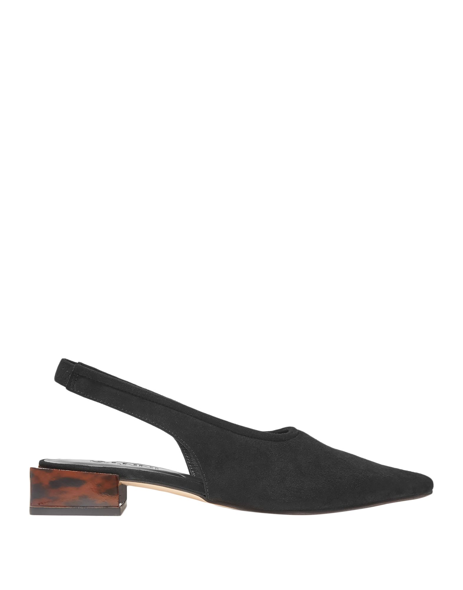 GANNI Pumps. leather, suede effect, no appliqués, solid color, elasticized straps, narrow toeline, geometric heel, leather lining, rubber sole, contains non-textile parts of animal origin, small sized. Soft Leather