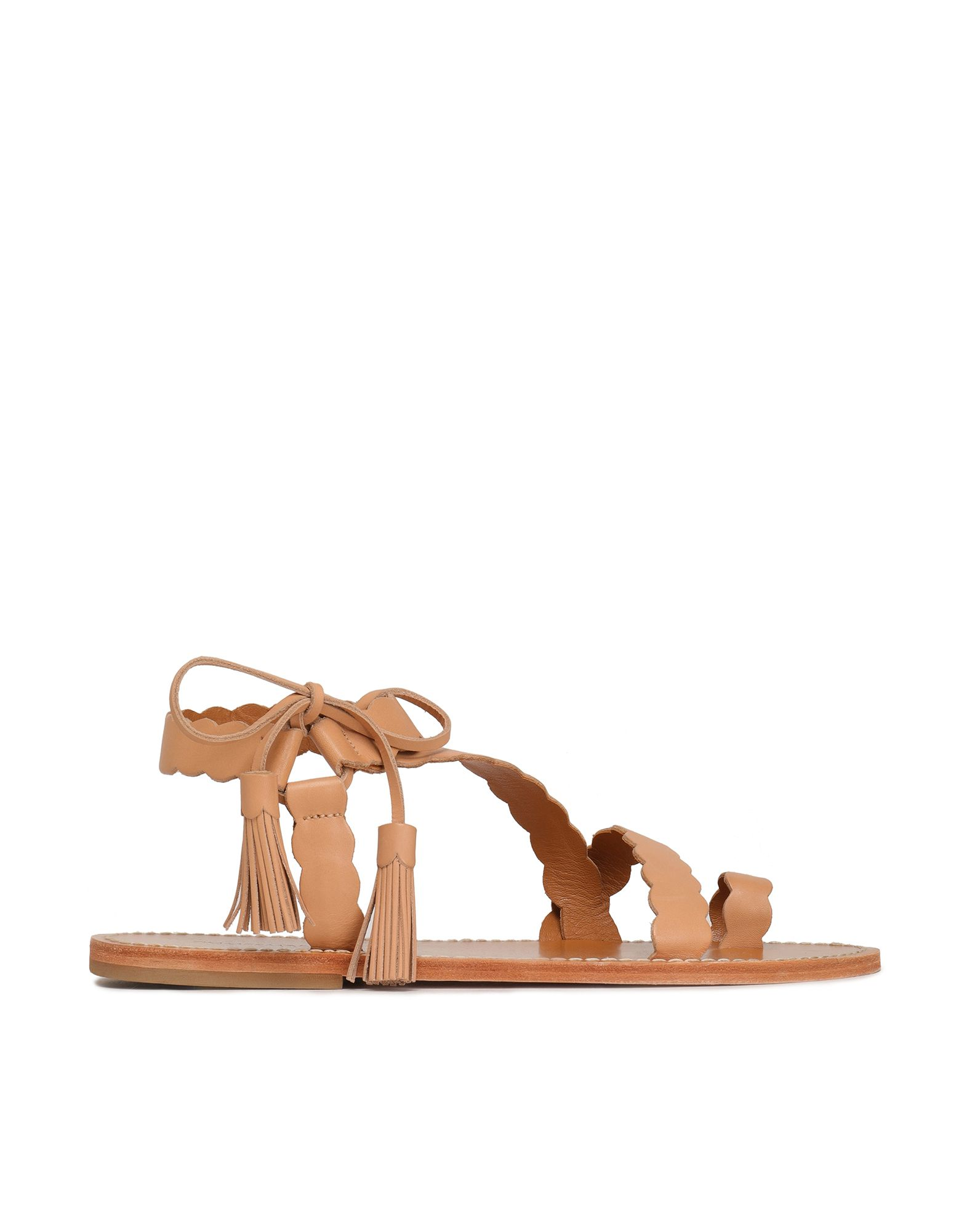 ZIMMERMANN Toe strap sandals. tassels, solid color, wrapping straps closure, round toeline, flat, leather lining, leather sole, leather, contains non-textile parts of animal origin. Soft Leather
