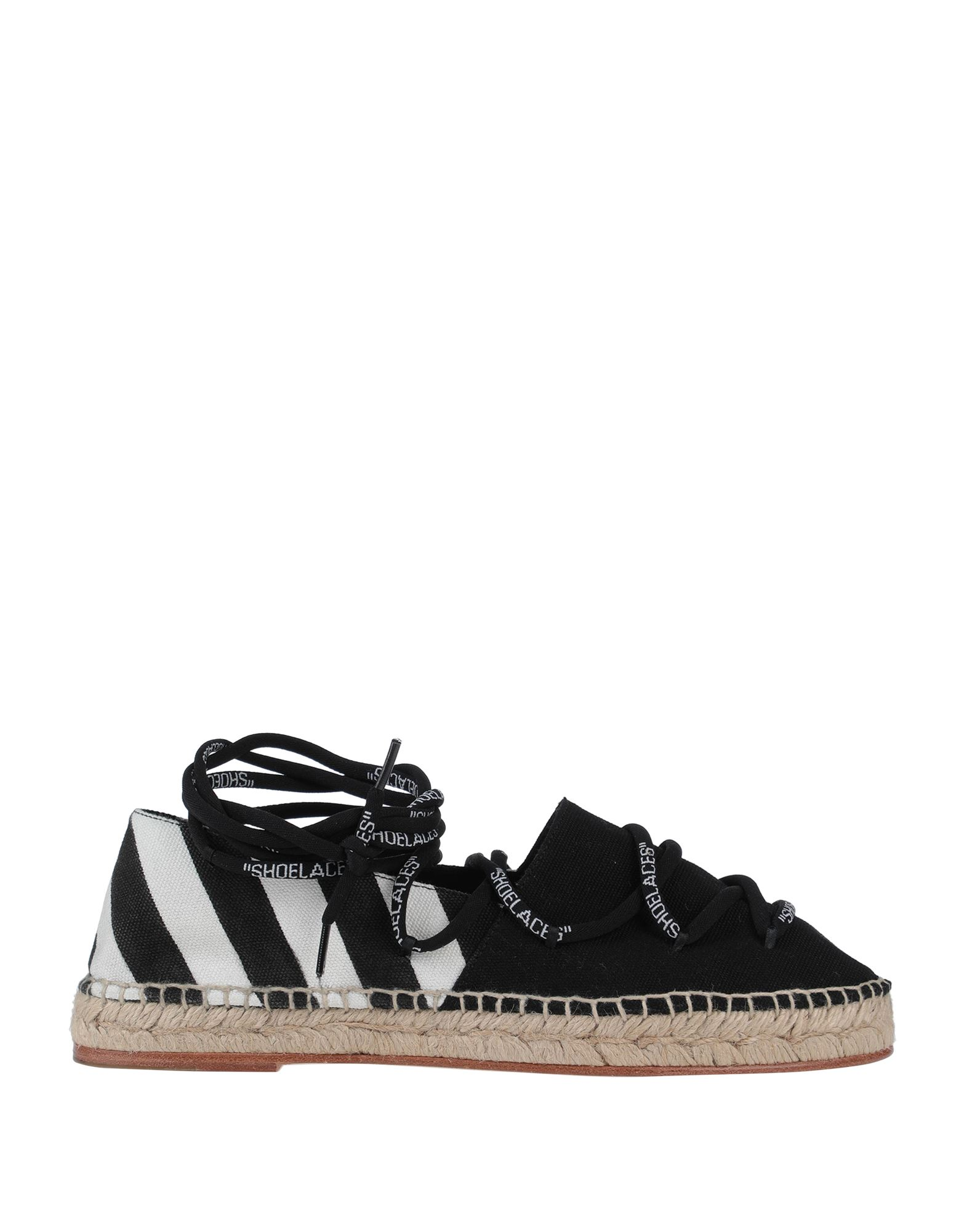 OFF-WHITE™ Espadrilles. canvas, laces, logo, stripes, round toeline, flat, leather lining, leather sole, contains non-textile parts of animal origin, small sized. Textile fibers