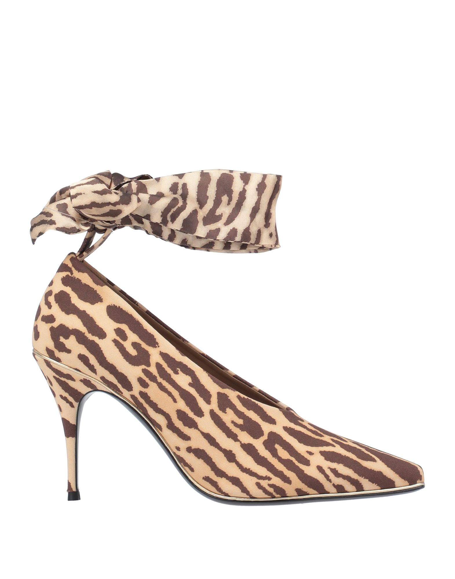 ZIMMERMANN Pumps. plain weave, no appliqués, animal print, wrapping straps closure, narrow toeline, spike heel, covered heel, leather lining, leather sole, contains non-textile parts of animal origin. Textile fibers