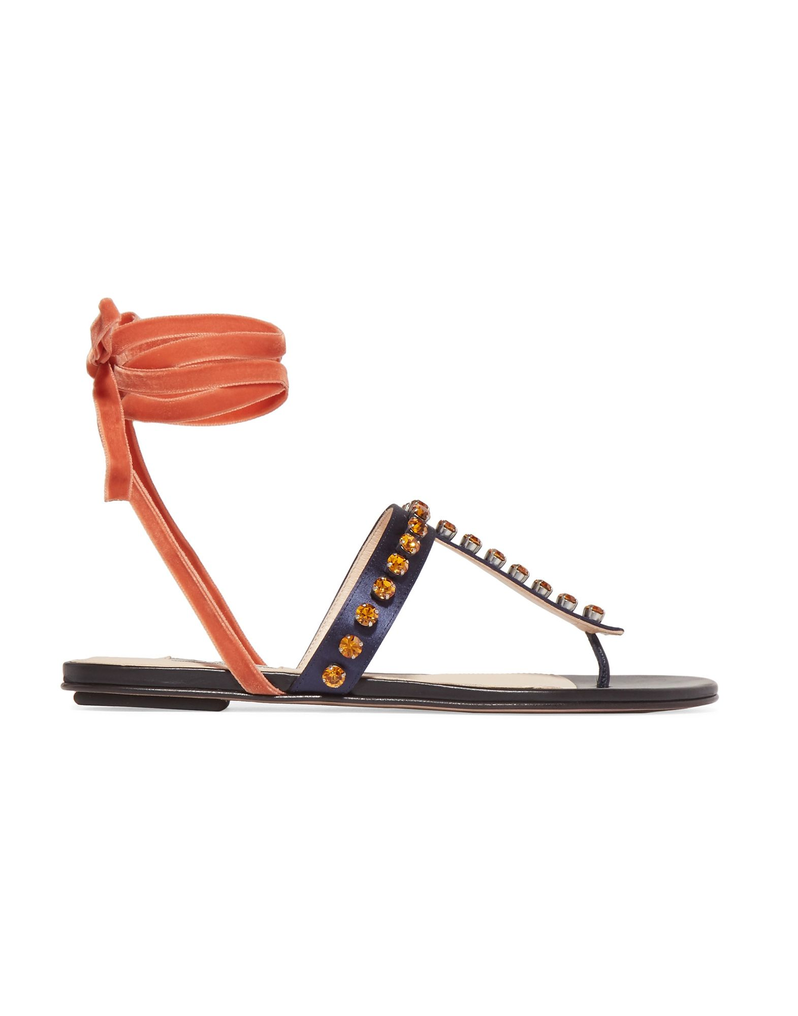 THE ATTICO Toe strap sandals. satin, rhinestones, solid color, wrapping straps closure, round toeline, flat, leather lining, leather sole, contains non-textile parts of animal origin. Textile fibers