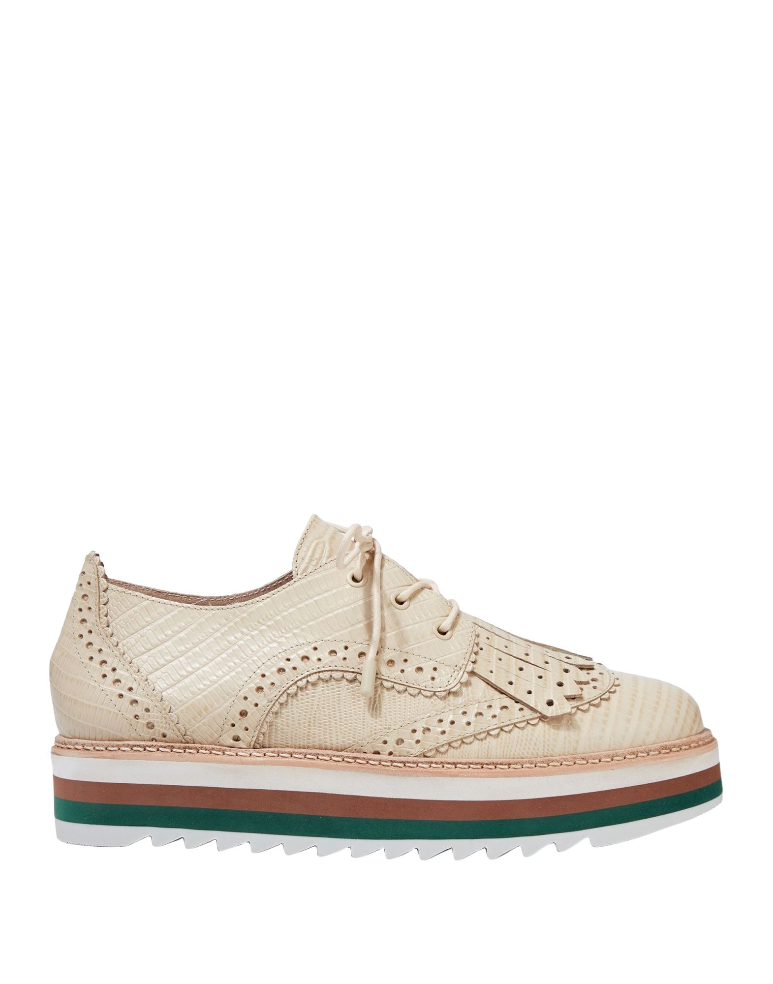 ZIMMERMANN Lace-up shoes. polished leather, fringed, solid color, round toeline, flatform, leather lining, rubber cleated sole, contains non-textile parts of animal origin. Soft Leather
