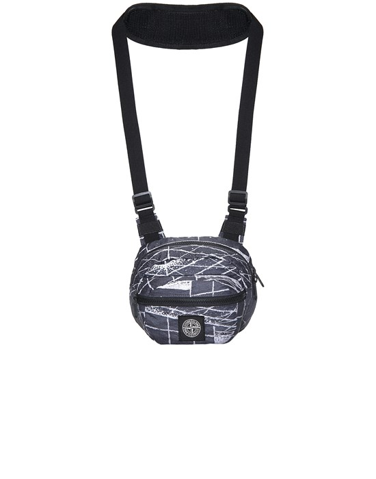 BUM BAG Man 90798 REFLECTIVE GRID ON LAMY Front STONE ISLAND
