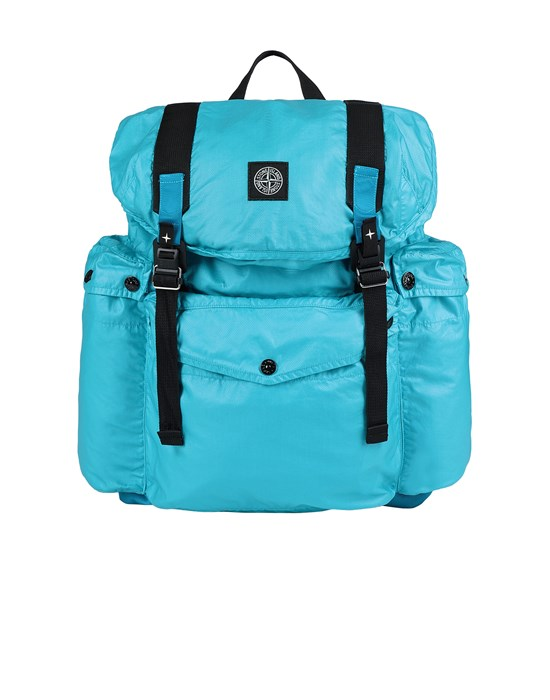STONE ISLAND 90370 MUSSOLA GOMMATA CANVAS PRINT Backpack Man Turquoise