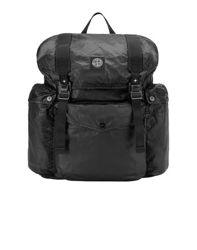 STONE ISLAND 90370 MUSSOLA GOMMATA CANVAS PRINT Backpack Man Black EUR 304