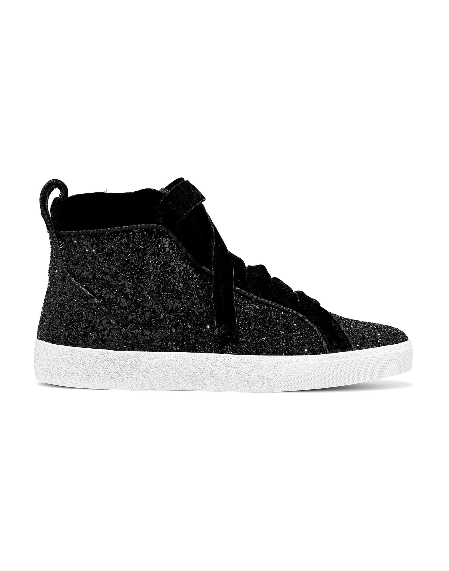 ALICE + OLIVIA Sneakers. velvet, glitter, solid color, laces, round toeline, leather lining, rubber sole, contains non-textile parts of animal origin, flat. Textile fibers