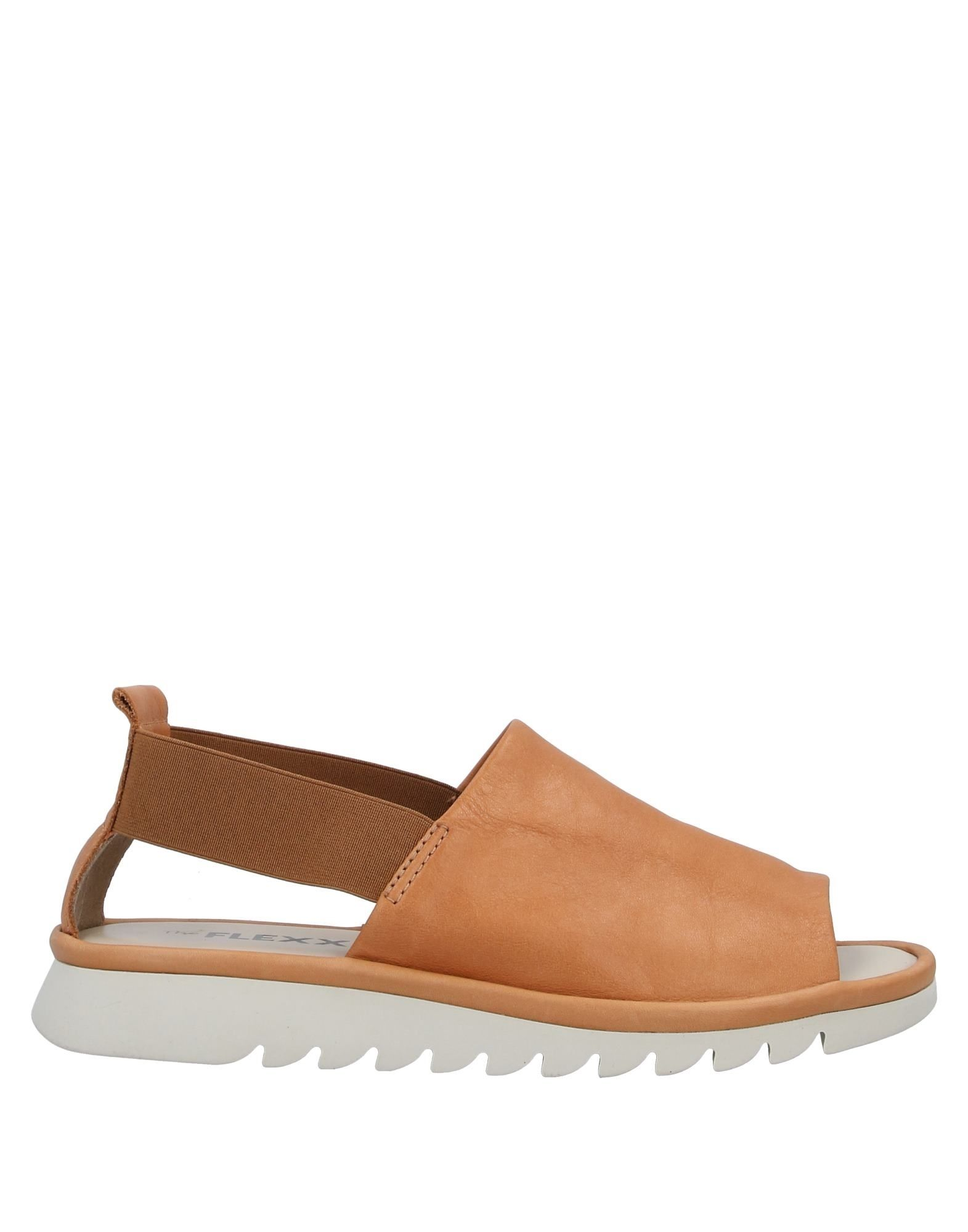 THE FLEXX Sandals. no appliqués, solid color, elasticized gores, round toeline, flat, leather lining, rubber cleated sole, contains non-textile parts of animal origin. Soft Leather