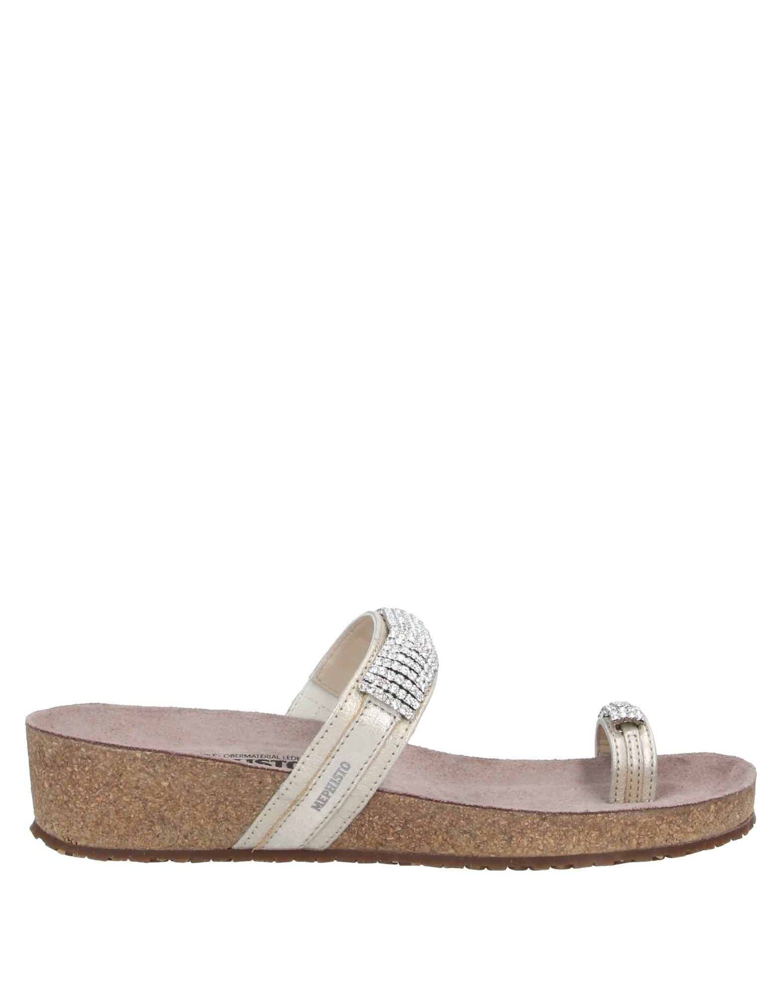 MEPHISTO Toe strap sandals. laminated effect, logo, rhinestones, solid color, round toeline, wedge heel, leather lining, rubber cleated sole, contains non-textile parts of animal origin. Soft Leather