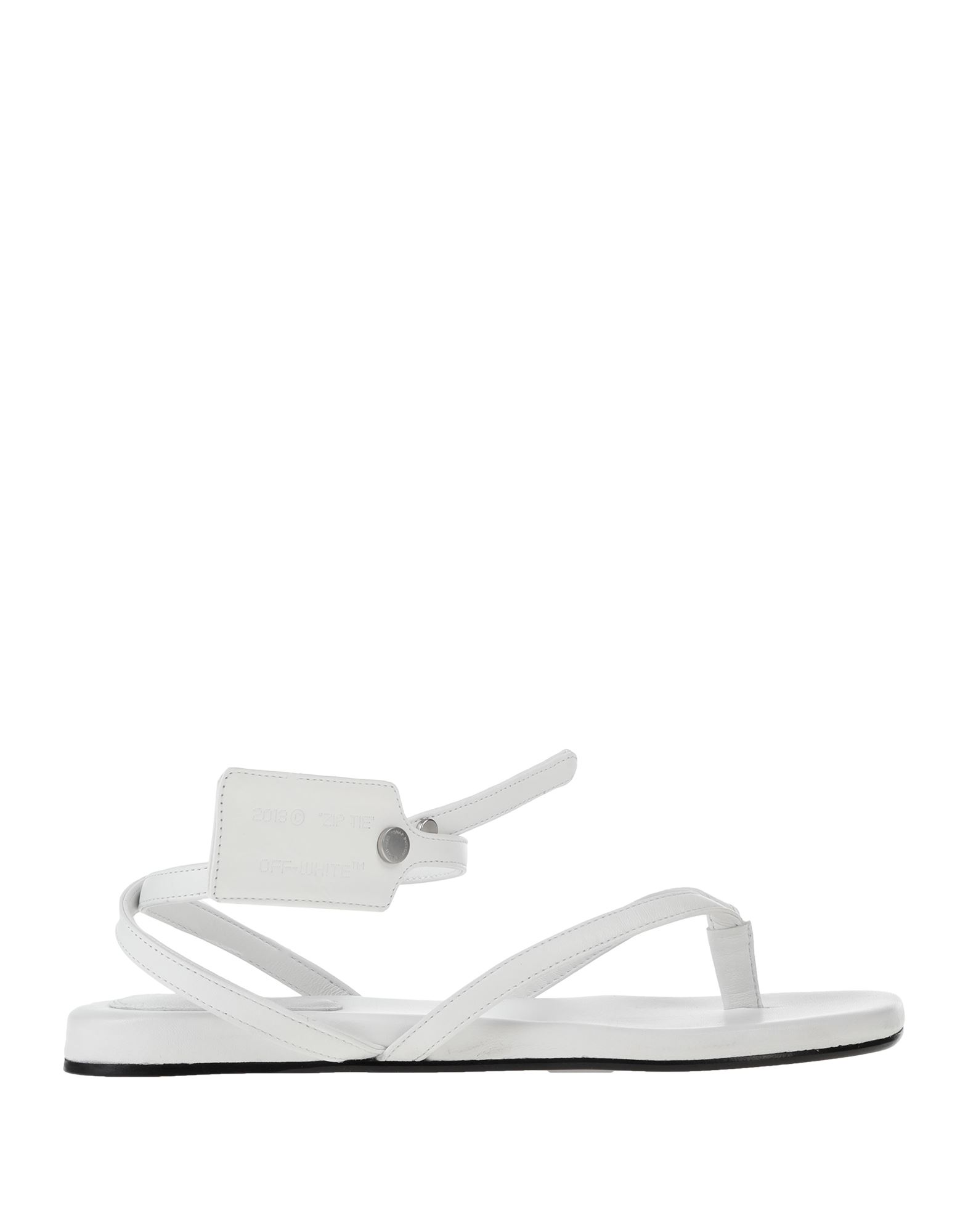 OFF-WHITE™ Toe strap sandals. leather, logo, solid color, snap buttons fastening, round toeline, flat, leather lining, leather sole, contains non-textile parts of animal origin, small sized. Soft Leather