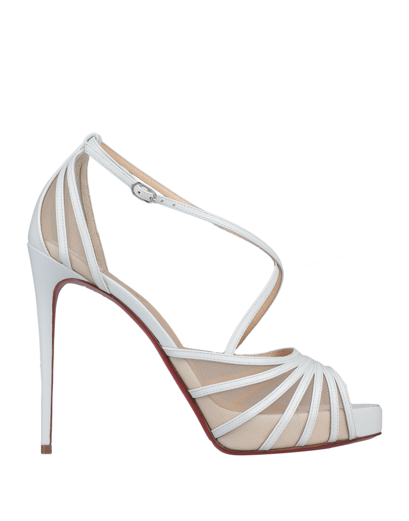CHRISTIAN LOUBOUTIN Sandals. tulle, leather, no appliqués, solid color, buckle fastening, round toeline, spike heel, covered heel, leather lining, leather sole, contains non-textile parts of animal origin, small sized. Kidskin, Textile fibers