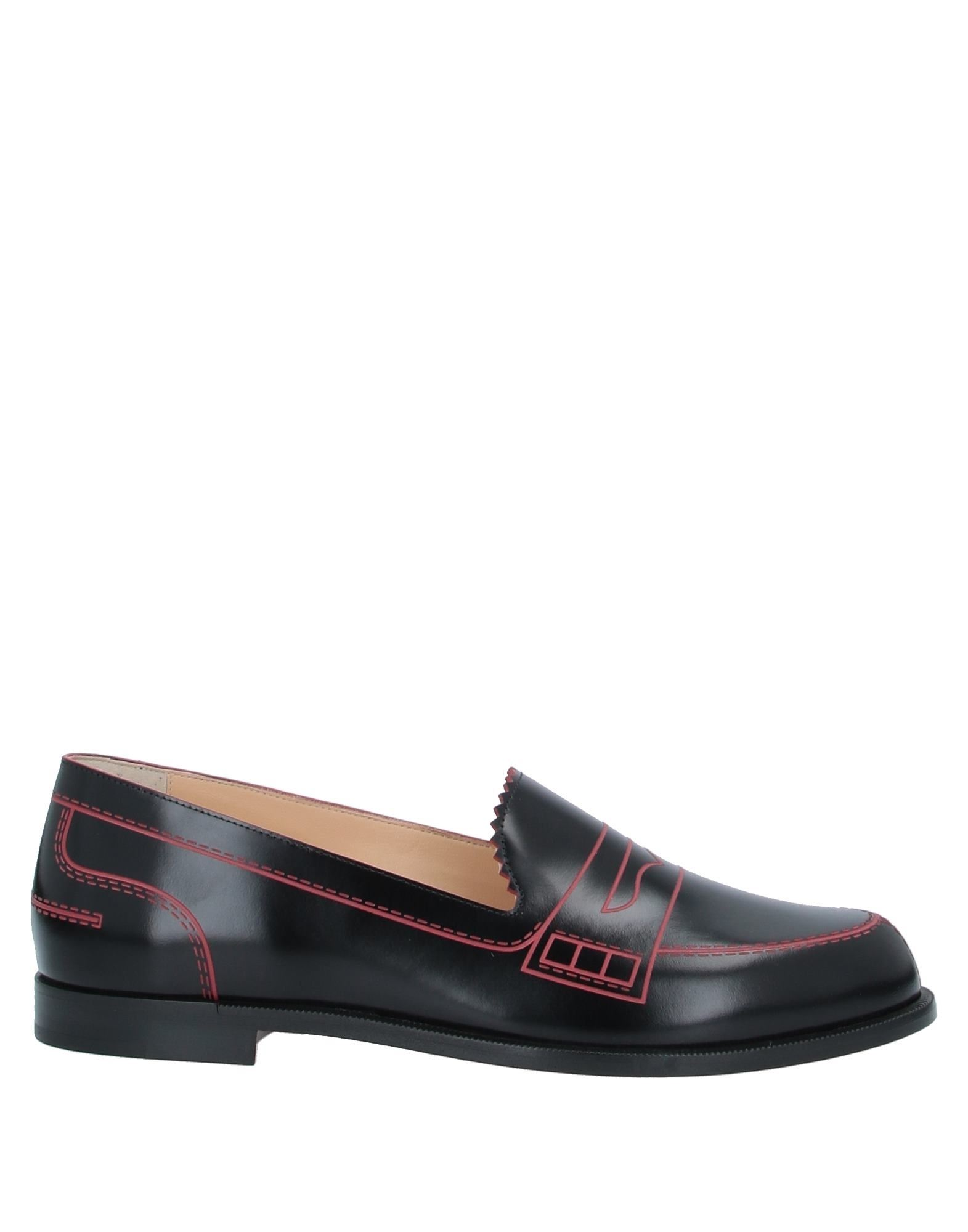 CHRISTIAN LOUBOUTIN Loafers. leather, no appliqués, solid color, round toeline, flat, leather lining, leather sole, contains non-textile parts of animal origin, small sized. Calfskin
