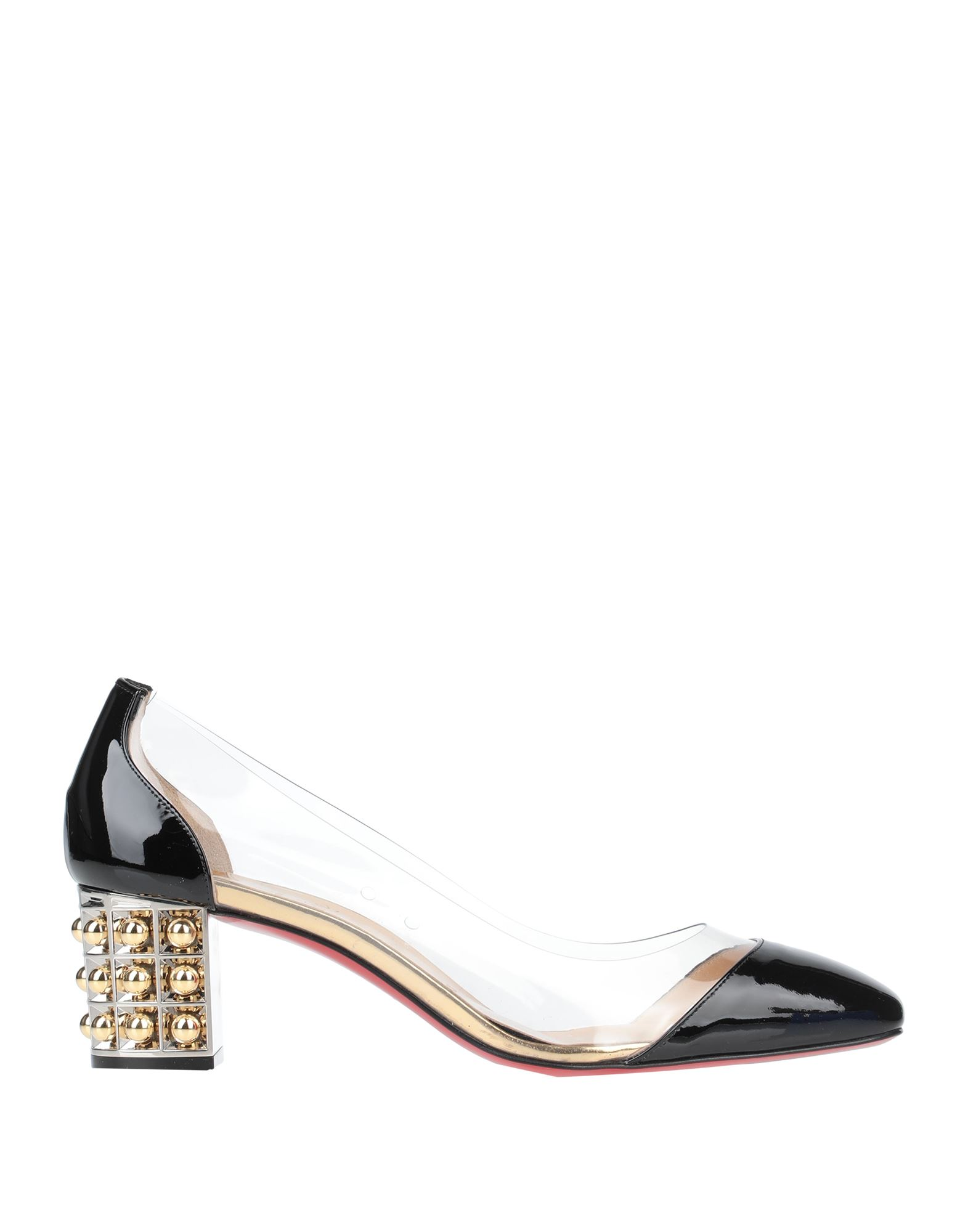 CHRISTIAN LOUBOUTIN Pumps. varnished effect, studs, solid color, round toeline, square heel, leather lining, leather sole, contains non-textile parts of animal origin, small sized. Soft Leather, PVC - Polyvinyl chloride