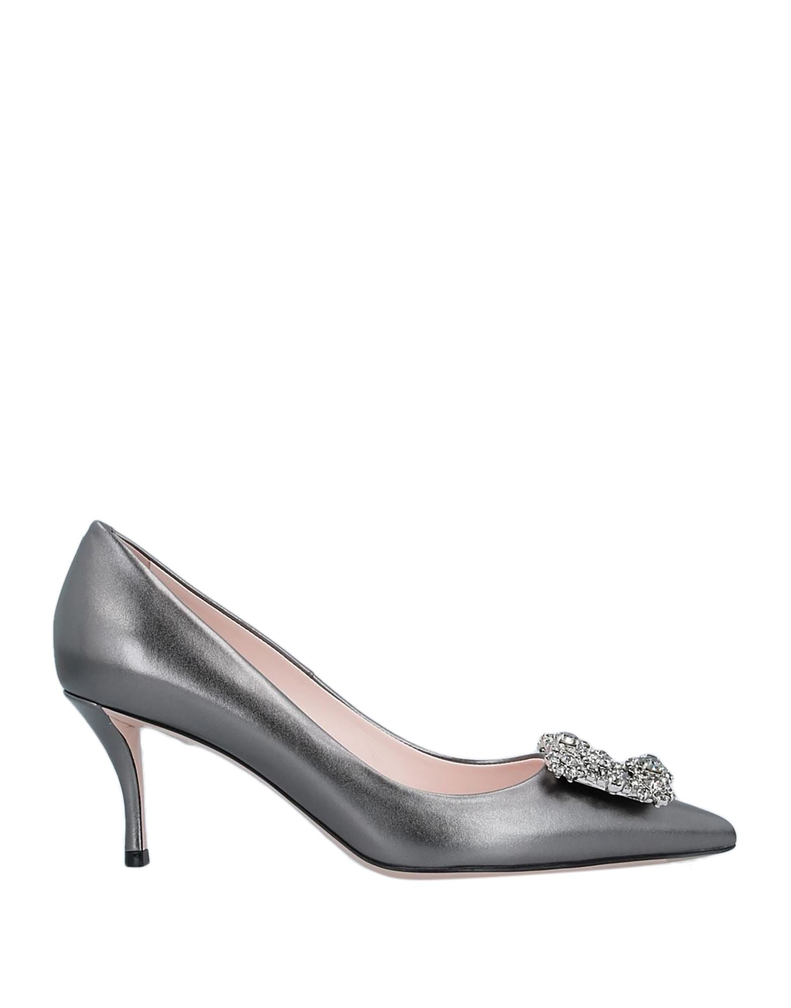 ROGER VIVIER Pumps. leather, laminated effect, rhinestones, solid color, narrow toeline, spike heel, covered heel, leather lining, leather sole, contains non-textile parts of animal origin. Soft Leather