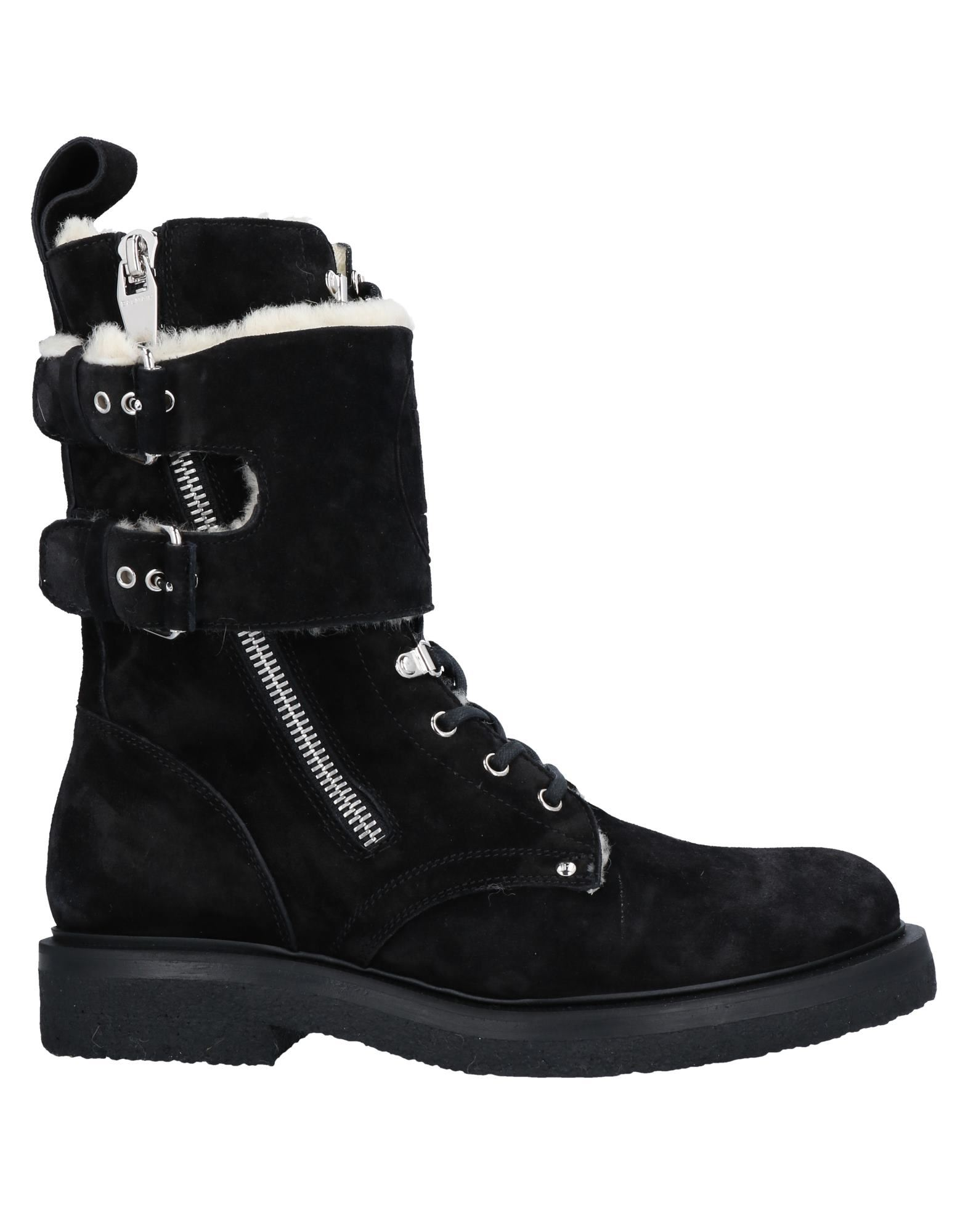 BALMAIN Ankle boots. leather, suede effect, logo, solid color, zipper closure, round toeline, square heel, rubber heel, lined in goat hair, rubber sole, contains non-textile parts of animal origin, small sized. Calfskin, Lambskin