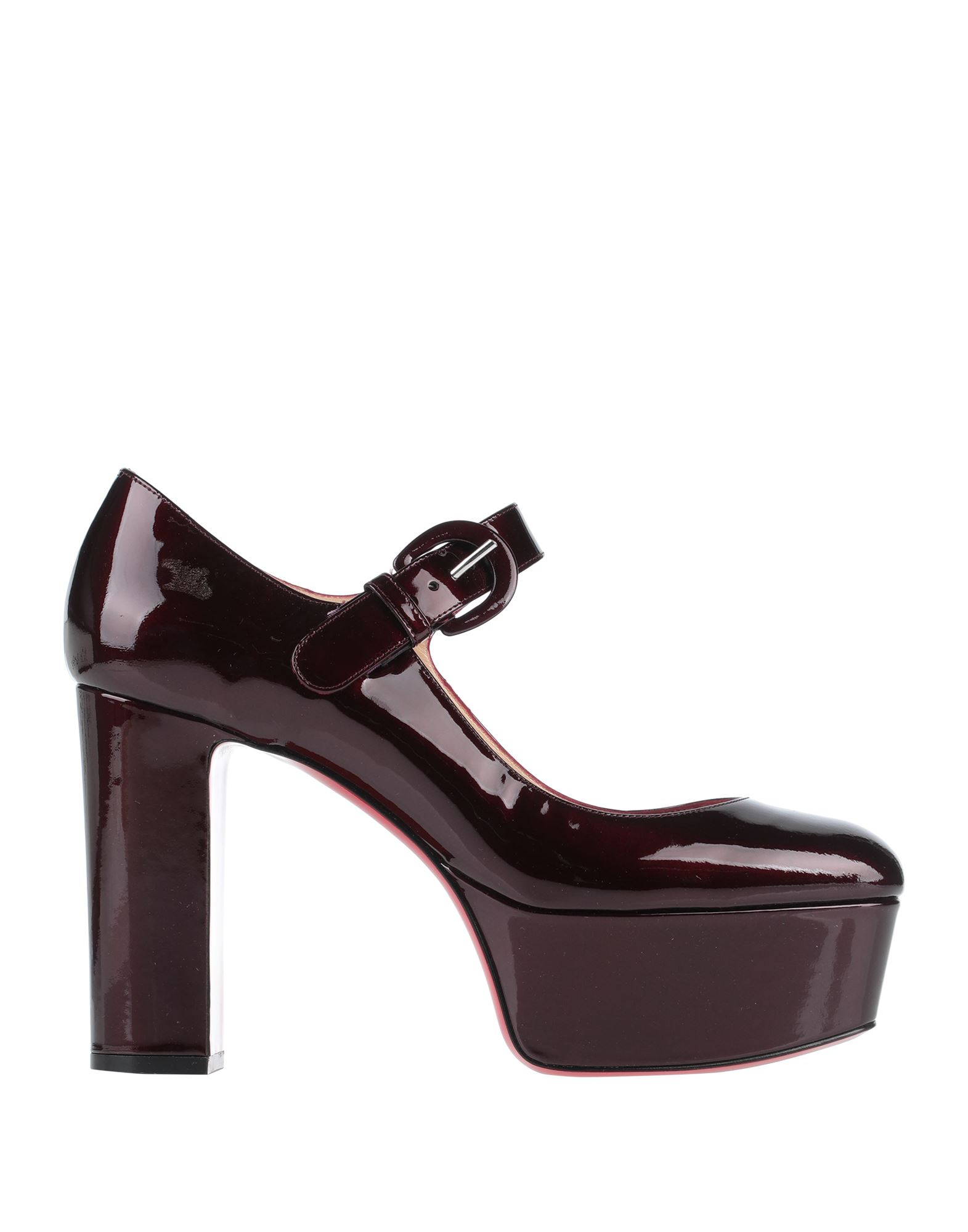 CHRISTIAN LOUBOUTIN Pumps. leather, varnished effect, no appliqués, solid color, round toeline, square heel, covered heel, leather lining, leather sole, contains non-textile parts of animal origin, small sized. Soft Leather