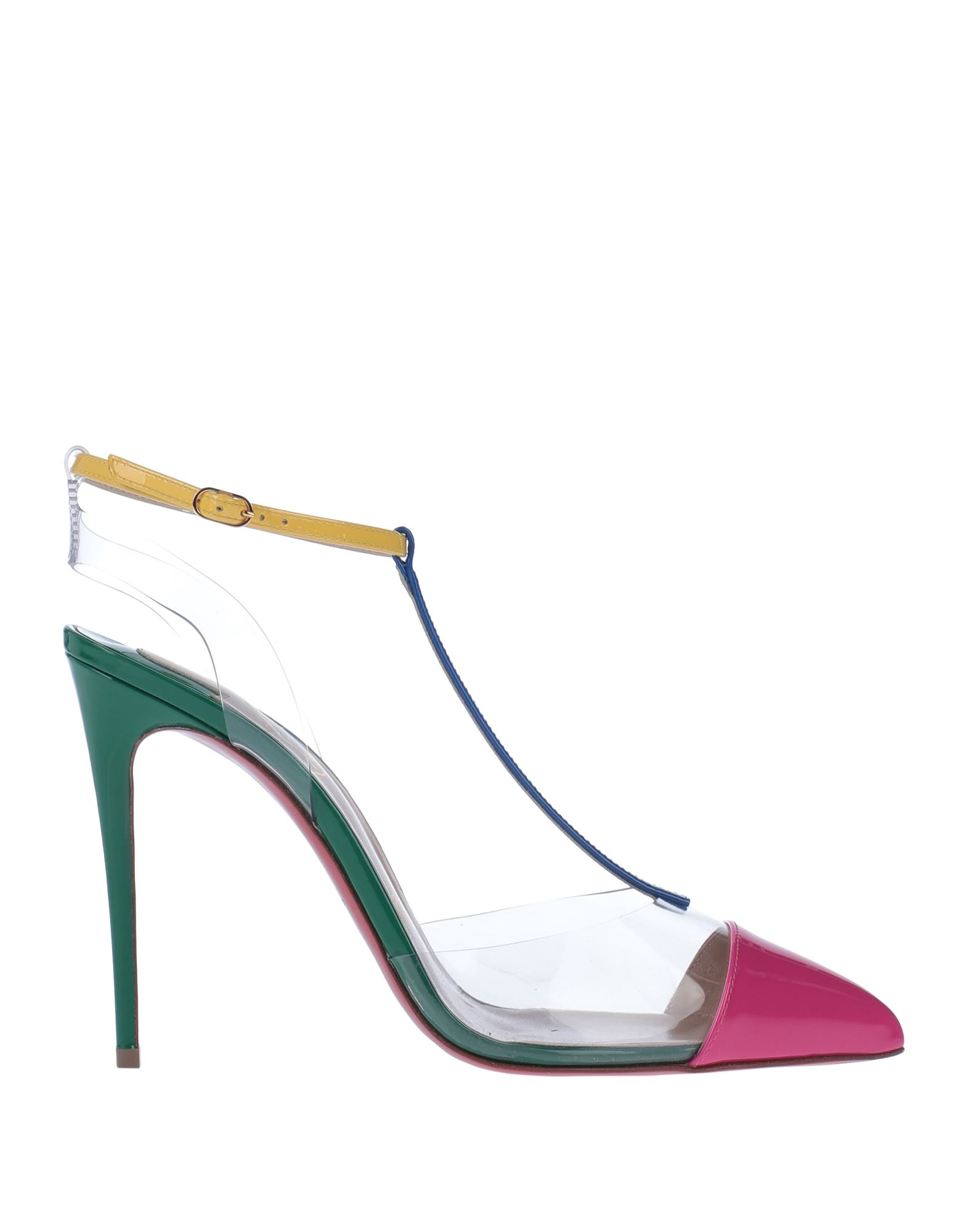 CHRISTIAN LOUBOUTIN Pumps. no appliqués, multicolor pattern, narrow toeline, buckle fastening, spike heel, leather sole, leather lining, contains non-textile parts of animal origin, small sized. Soft Leather, PVC - Polyvinyl chloride