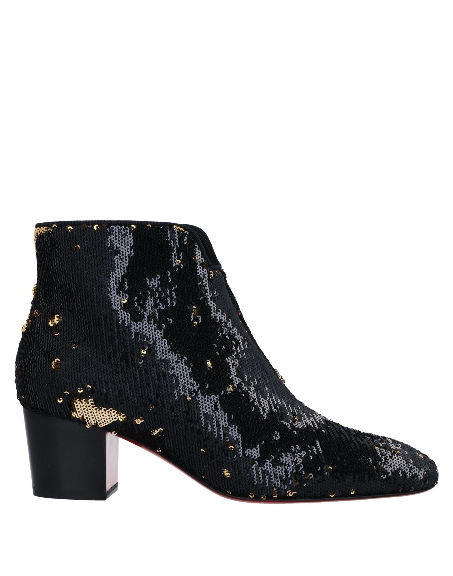 CHRISTIAN LOUBOUTIN Ankle boots. sequins, solid color, zipper closure, round toeline, square heel, leather lining, leather sole, contains non-textile parts of animal origin, small sized. Textile fibers