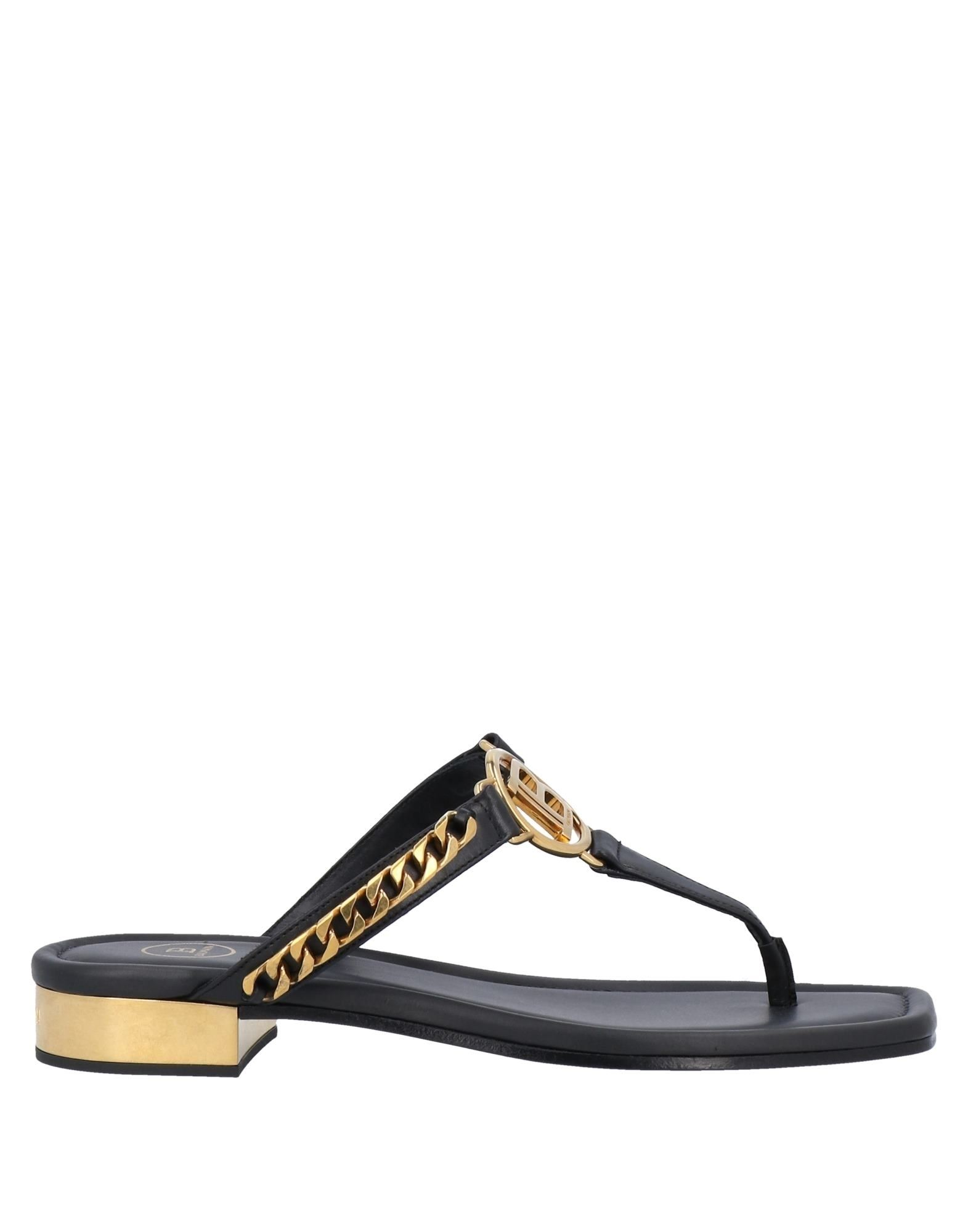 BALMAIN Toe strap sandals. leather, logo, metal applications, solid color, round toeline, flat, leather lining, leather sole, contains non-textile parts of animal origin. Calfskin