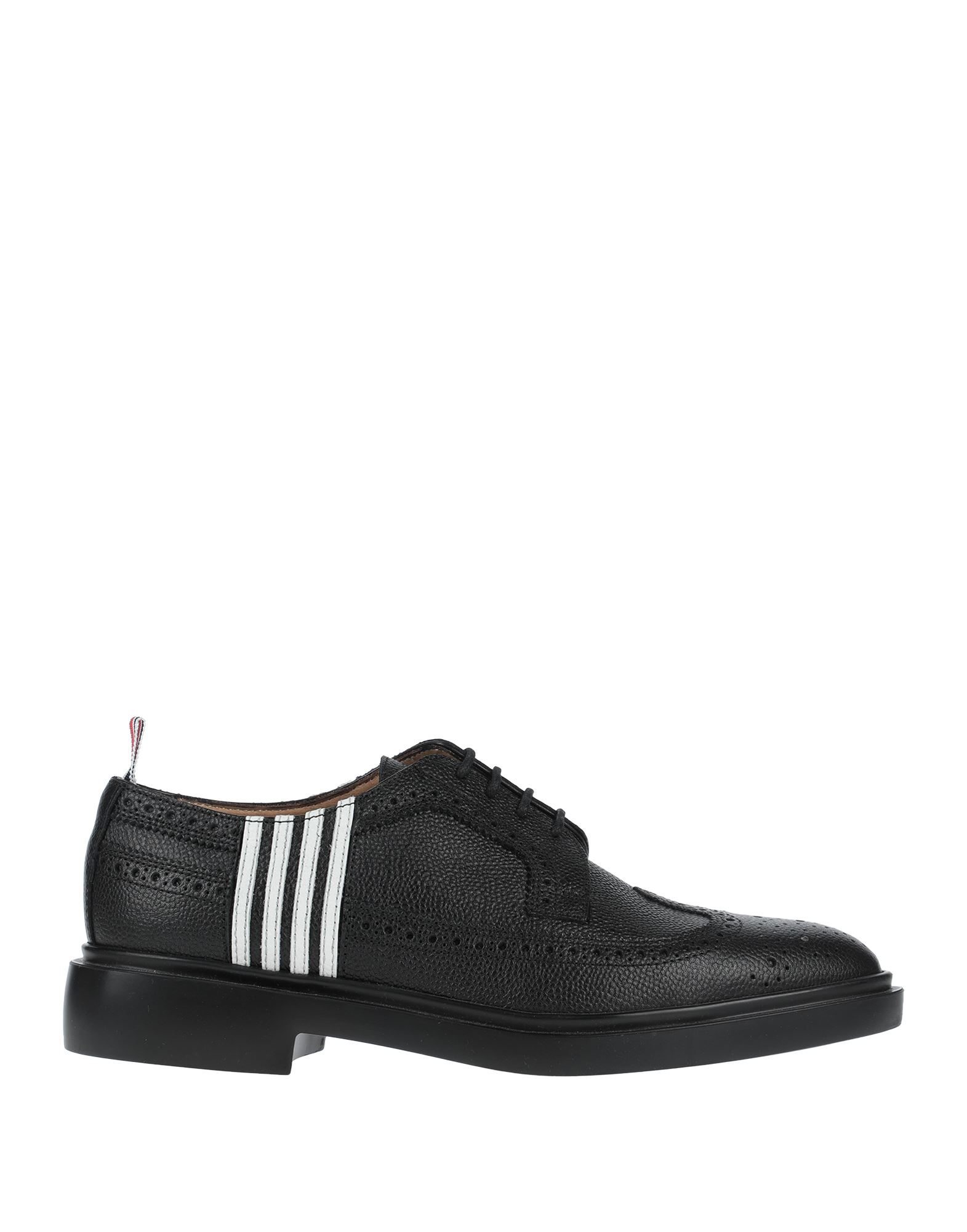 THOM BROWNE Lace-up shoes. leather, textured leather, no appliqués, solid color, round toeline, square heel, leather lining, rubber sole, contains non-textile parts of animal origin. Soft Leather