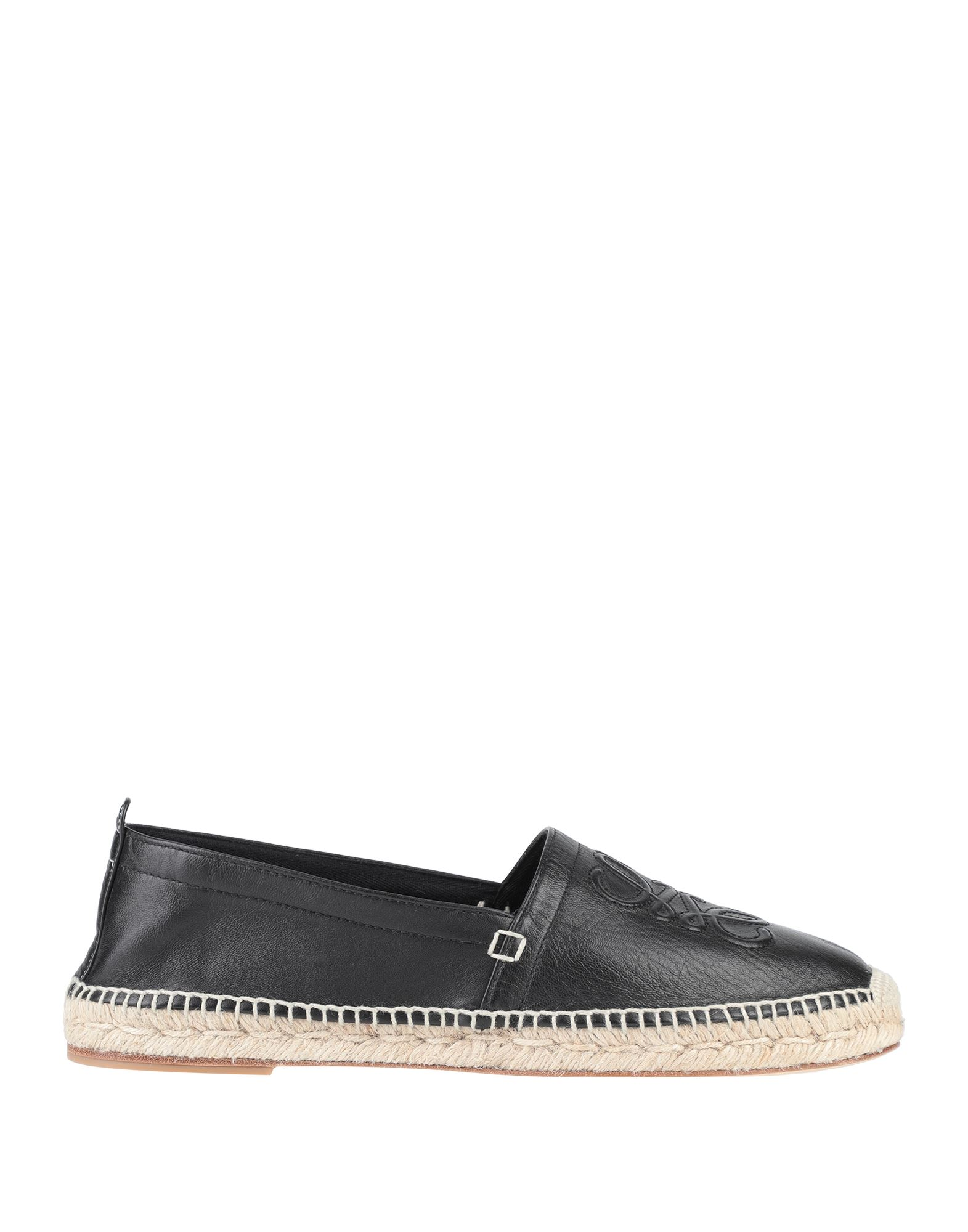 LOEWE Espadrilles. leather, logo, solid color, round toeline, flat, leather lining, leather/rubber sole, contains non-textile parts of animal origin. Soft Leather