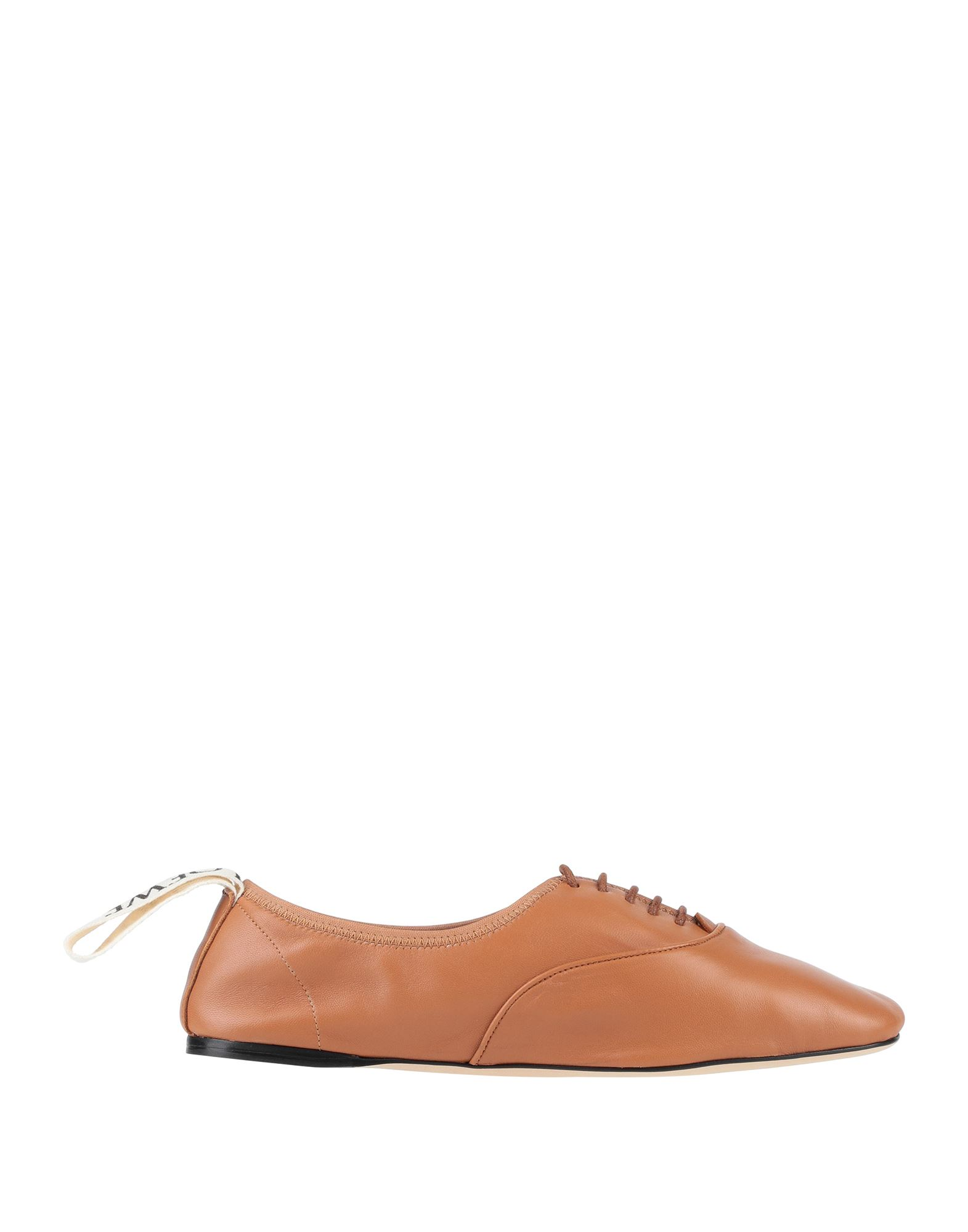 LOEWE Lace-up shoes. logo, solid color, round toeline, flat, leather lining, leather sole, contains non-textile parts of animal origin. Soft Leather