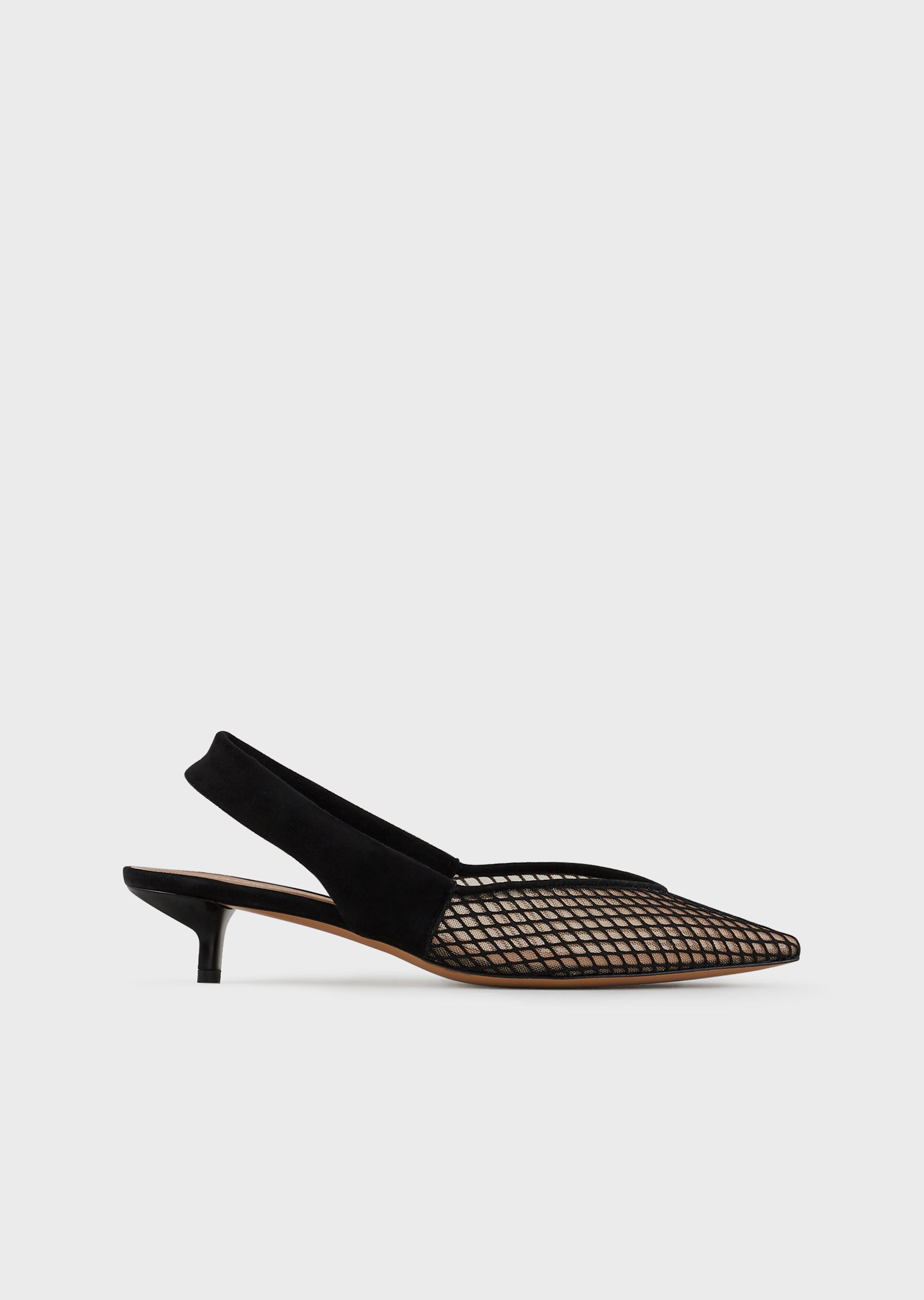EMPORIO ARMANI Suede slingbacks with mesh-covered toe