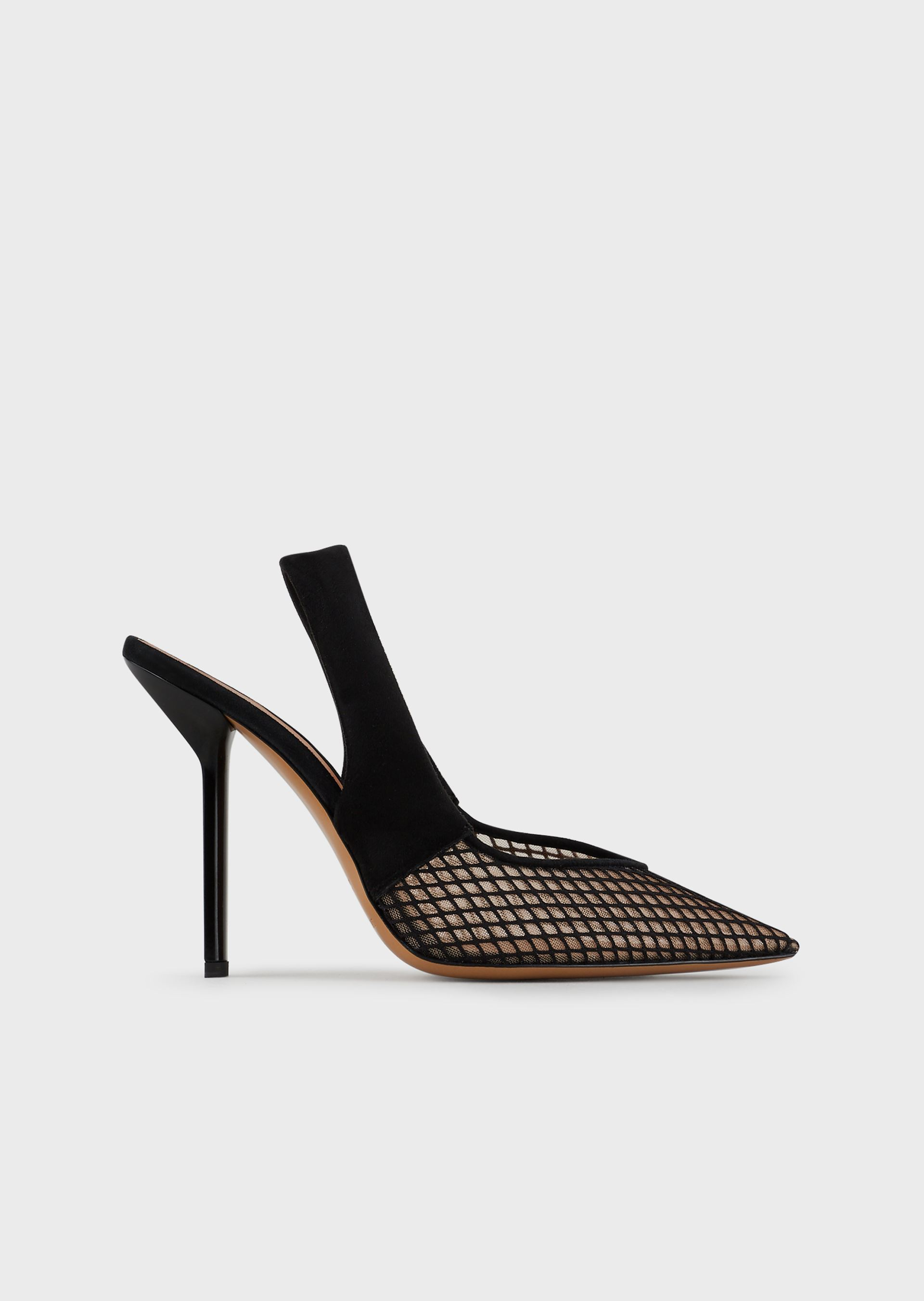 EMPORIO ARMANI Suede slingback court shoes with mesh-covered toe