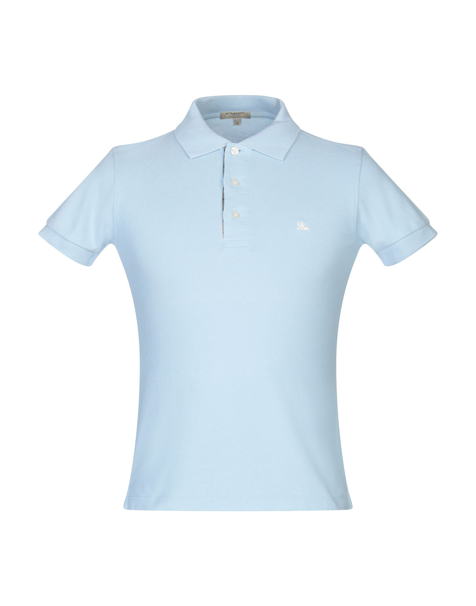Burberry Polo Shirts In Sky Blue Modesens