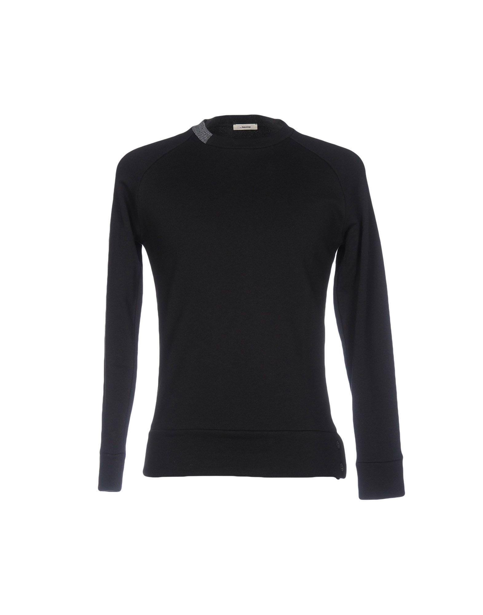 《送料無料》,BEAUCOUP メンズ スウェットシャツ ブラック XL コットン 100%