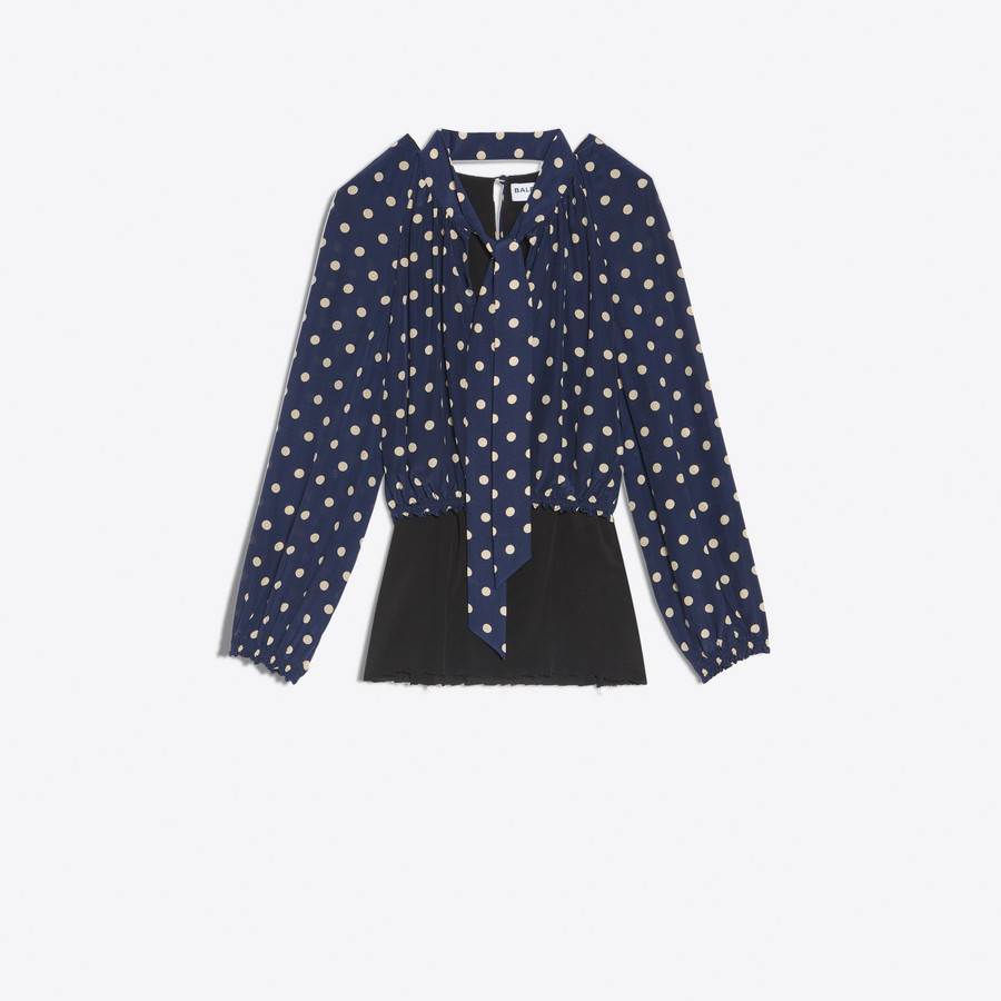 BALENCIAGA Misplaced Lavalliere Blouse Top D f