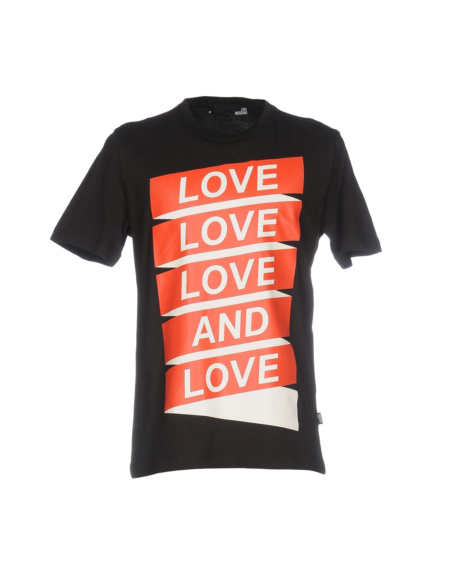 《送料無料》LOVE MOSCHINO メンズ T シャツ ブラック M コットン 100%