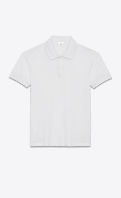 SAINT LAURENT Polos Man classic polo shirt in white piqué cotton a_V4