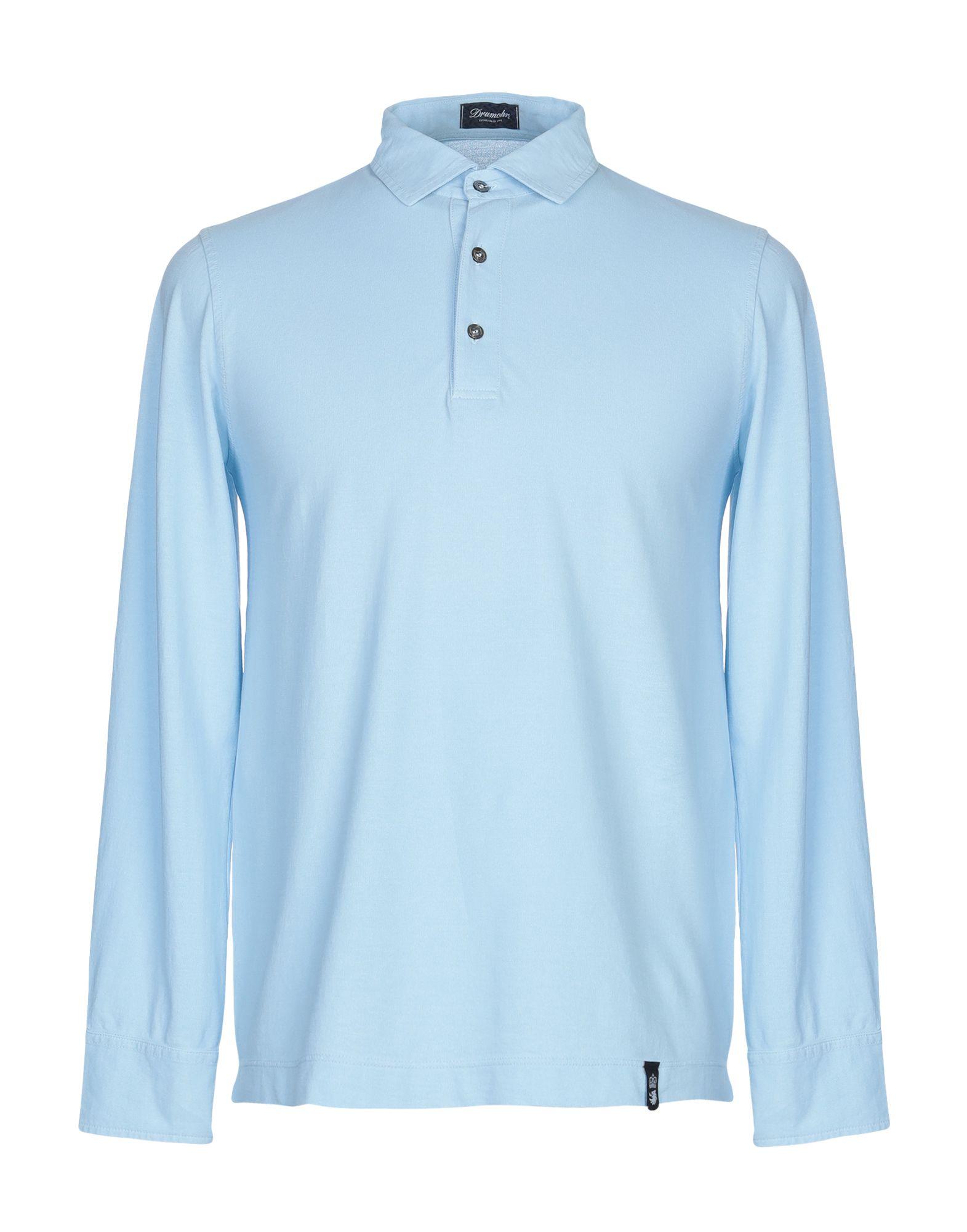 《期間限定セール中》DRUMOHR メンズ ポロシャツ スカイブルー M コットン 100%