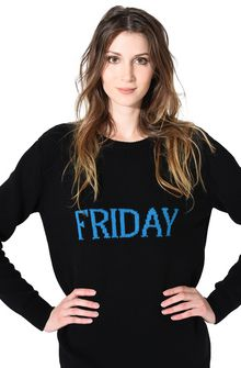 ALBERTA FERRETTI FRIDAY IN BLACK & BLUE KNITWEAR Woman a