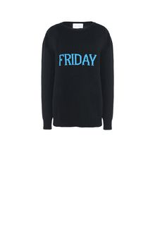 ALBERTA FERRETTI FRIDAY IN BLACK & BLUE KNITWEAR Woman e
