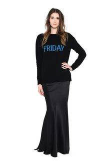 ALBERTA FERRETTI FRIDAY IN BLACK & BLUE KNITWEAR Woman f