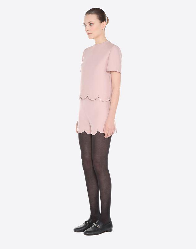 Top in Crepe Couture con bordi a smerlo