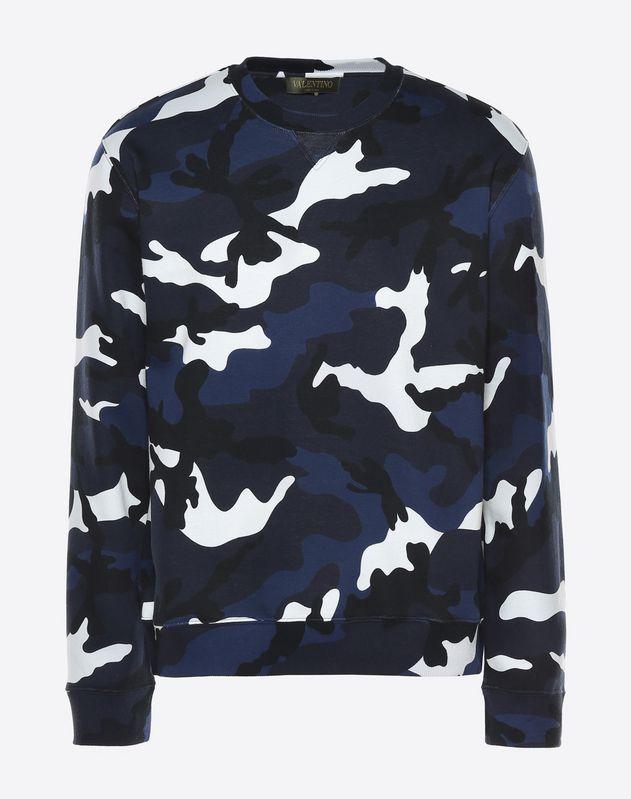 Camouflage print crew neck sweatshirt