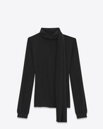 SAINT LAURENT Tops and Blouses D Scarf Blouse in Black Silk Crêpe f