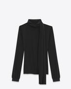 SAINT LAURENT Tops et blouses D Blouse foulard en crêpe de soie noir f