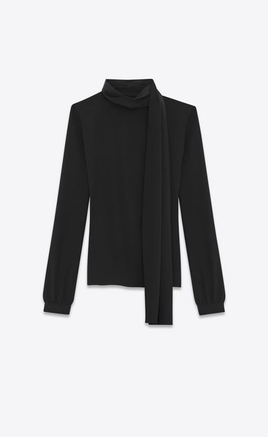 SAINT LAURENT Tops and Blouses Woman Scarf Blouse in Black Silk Crêpe a_V4