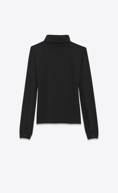 SAINT LAURENT Tops and Blouses Woman Scarf Blouse in Black Silk Crêpe b_V4