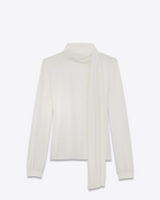 SAINT LAURENT Tops and Blouses D Scarf Blouse in Shell Silk Crêpe f