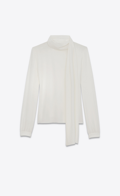 SAINT LAURENT Tops and Blouses Woman Scarf Blouse in Shell Silk Crêpe a_V4