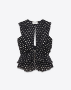 Sleeveless Ruffled and Pleated Top in Black and White Lipstick Dot Printed Silk Georgette