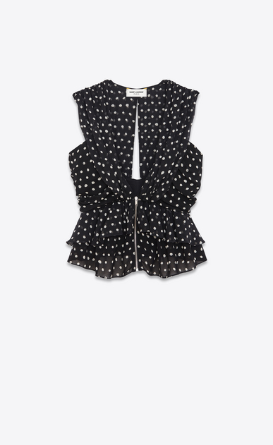 SAINT LAURENT Tops and Blouses D Sleeveless Ruffled and Pleated Top in Black and White Lipstick Dot Printed Silk Georgette v4